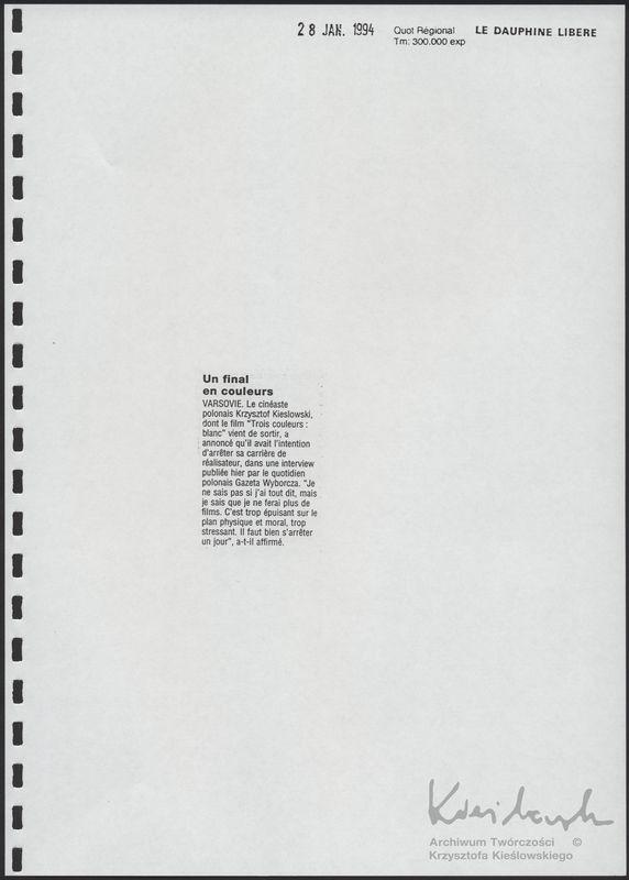 Trzy kolory: Biały - Materiały prasowe