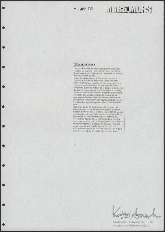 Dekalog - Materiały prasowe