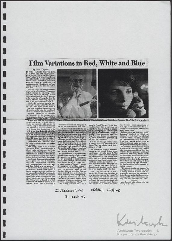 Trzy kolory: Niebieski - Materiały prasowe